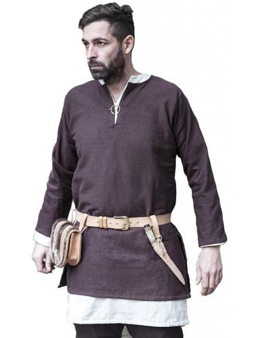 Túnica medieval corta, algodón, Erik. (marrón)