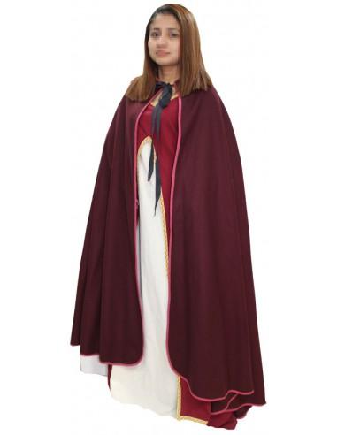 Capa medieval Dama, de paño. Granate.