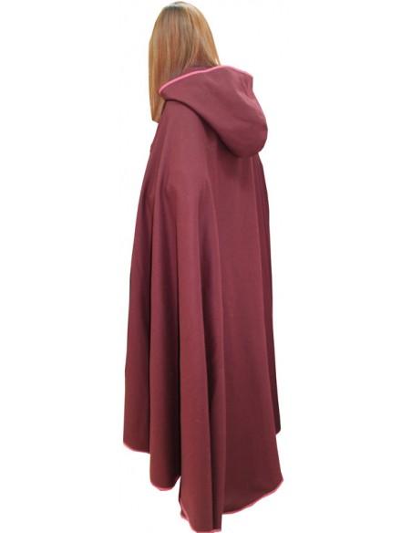 Capa medieval Dama, de paño. Detalle capucha.