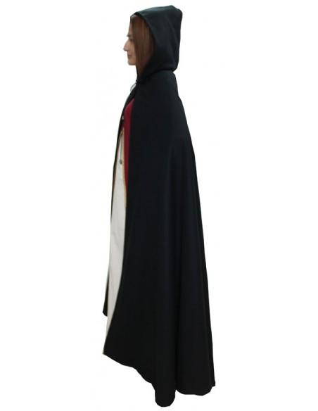 Capa medieval Dama, de paño. Negra.