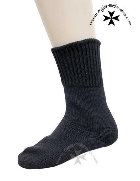Calcetín corto artesanía, de lana, pial. Negro.