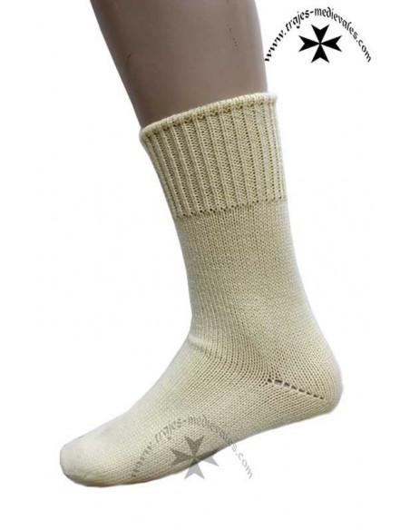 Calcetín corto artesanía, de lana, pial. Beig