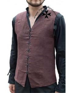 Chaleco medieval, veste, Maron. Marrón.