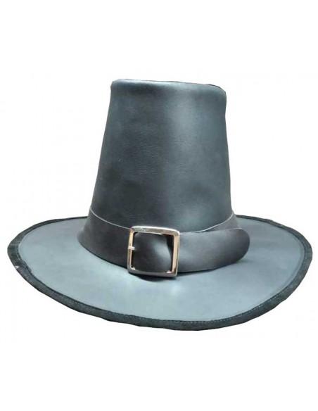 Sombrero siglo XVII, piel lisa. Negro.