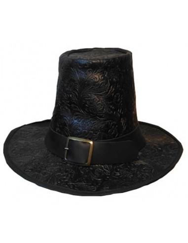 Sombrero siglo XVII, de luxe, piel grabada. Negro
