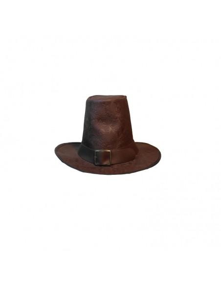Sombrero siglo XVII, de luxe, piel grabada. Marrón