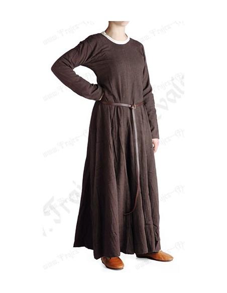 Vestido medieval dama, 1100-1400, marrón.